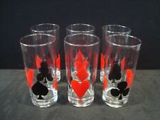 Rare Set of 6 Fire King Anchor Hocking Poker Bridge Drinking Tumbler Glasses