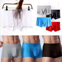 Seamless Men's Ice silk Underwear Boxer Briefs Shorts Bulge Pouch Underpants NEW
