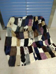Luxury Multicolor Astrakhan Skin Fur Throw Real Lamb Fur Bedspread King Size