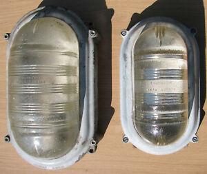 Vintage Industrial Coughtrie Glasgow Mid Century Metal Glass Bulkhead Light L/H