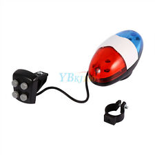 Bike Safety Cycling 4 Sounds 6 LED Police Car Siren Electric Light Horn Bell OB
