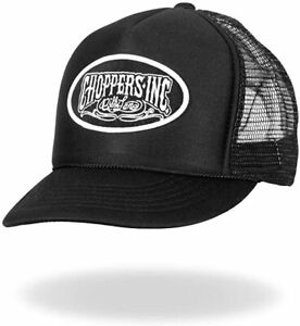 Choppers Inc Billy Lane Motorcycles Biker Logo Daytona Black Trucker Hat CIA1004