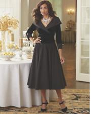size 14 Madeleine Velvet Bodice Little Black Dress by Midnight Velvet new