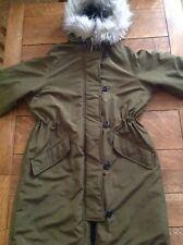 'H&M' Khaki Green Parka, Fur trim Hood, Size S(8/10), Preowned