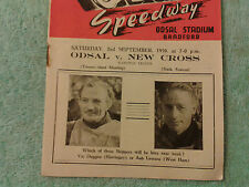 ODSAL SPEEDWAY 1950 ORIGINAL PROGRAMME. . ODSAL VERSUS NEW CROSS. 2nd SEPTEMBER