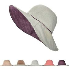 Womens Wide Brim Cap Bucket Hat Linen/Cotton Summer Beach Cap Reversible UPF50+