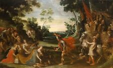 Huge 17th Century Dutch Old Master Soldiers Sacrifice Antique Oil Painting
