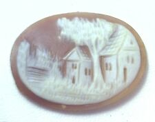 NOS Antique Hand Carved Oval Shell CAMEO Stone House & Tree Scene #N450