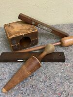 Lot of Antique Wood Items-Masher-Mold-Levels-Great For Decoration