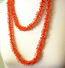 Vintage 50s Coral Plastic Necklace Long Branch Coral Summer Fun