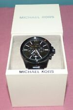Michael Kors Chronograph Watch MK8767 Men's Black Stainless Steel NWT