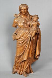 Epoque XVIII°, 67cm, Vierge à l'enfant, Grande sculpture en bois