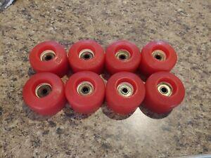 8 Vintage Kryptonics Roller Skate Quad Wheels+Bearings-Red-Orange Kryptos
