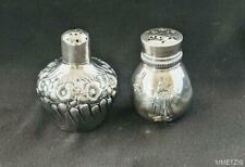 ANTIQUE GORHAM STERLING SILVER SALT/PEPPER SHAKERS 1 WITH REPOUSSE 1 WITH MONO