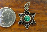 Vintage silver GREEN TURQUOISE STAR OF DAVID HEBREW JEWISH PENDANT charm STYLE 1