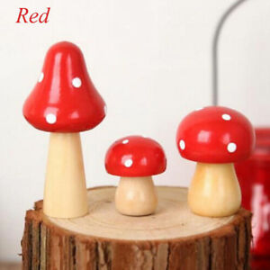 Wooden Miniature Fairy Toadstool Mushroom House Home Crafts Ornaments Decor DP