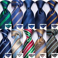 Silk Mens Ties Blue Red Green Striped Paisley Tie Necktie Pocket Square Set