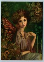 PRETTY GIRL Fairy Queen in Green Forest Fantasy Miracle Russian New Postcard
