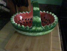Vintage Ceramic Watermelon Basket Serving Bowl With Handle