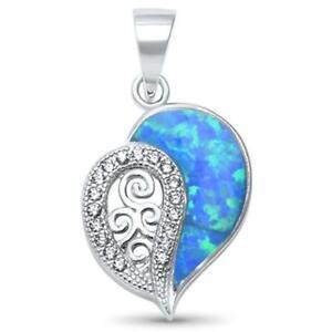 Elegant Heart Blue Opal .925 Sterling Silver Pendant