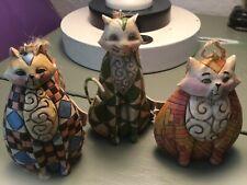 Jim Shore Heartwood Creek Cat Ornaments Three Enesco