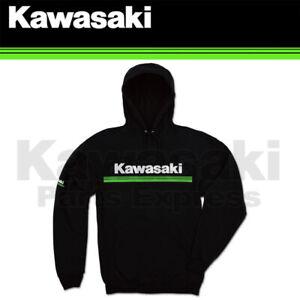 BRAND NEW SMALL GENUINE KAWASAKI 3 GREEN LINES PULLOVER HOODED SWEATSHIRT