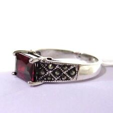 925 STERLING SILVER  MARCASITE AND GARNET CZ  SET  RING SIZE 10