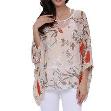Plus Kimono Sleeve Casual Loose Blouse Top Ladies Semi Sheer Chiffon Tunic Tops