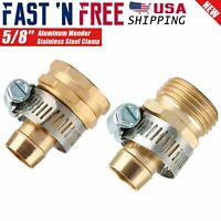 """5/8"""" Brass Garden Hose Repair Mender Male & Female Connector w/ Stainless Clamp"""