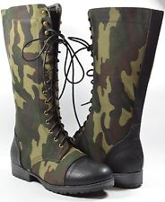 Women Combat Boots Camouflage Design Fashion Mid-Calf Two Tone Colors Lace Up