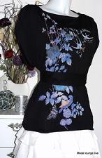 Pussy Deluxe Valerie cotton Shirt Bluse S 36 black schwarz flower Blumen Neu new