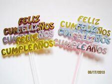 Floral Picks FELIZ CUMPLEANOS Spanish Assorted Colors Pk/12!