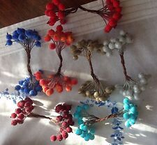 DOUBLE STEMS OF ARTIFICIAL FROSTED BERRIES CRAFTS/FLOWER/CAKE DECORATING