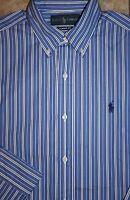 NWT Polo Ralph Lauren Dress Shirt White & Blue Striped w/ Pony S Small M Medium