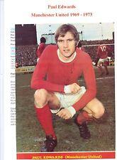 Paul Edwards Manchester United 1969-1973 Original Firmada A Mano Imagen De Corte