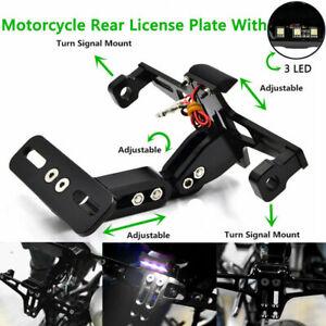 CNC Black Motorcycle Aluminium License Number Plate Holder Bracket Adjustable