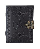 Leather Journal Pentagram Black Handmade Journal Book of Shadows Spell Pagan 7x5