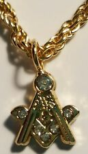 MASONIC TIE CHAIN SQUARE AND COMPASS GOLD WITH STONES