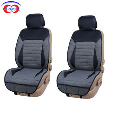 2 PCS Car Seat Covers Gray Poly Fabric Black Band Faux Leather - Easy to Install