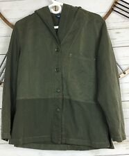 Shaver Lake Hooded Jacket Large Army Green Rayon Microfiber Button Up Coat