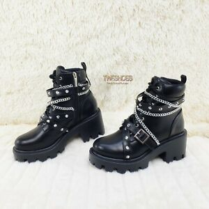 CR Star Burst Lace Up Strap & Chain Platform Sneaker Combat Ankle Boots