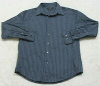John Henry Dress Shirt Blue White Striped Long Sleeve Cotton Large Mans Top 1-29