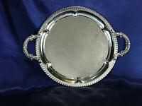 "Vintage Golden Crown Silver Plate 14"" SERVING TRAY Ornate Handles"