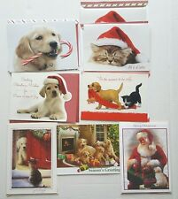 Christmas Greeting 8 Cards Dogs Puppy Envelope Kittens Pet Lover Animals Holiday