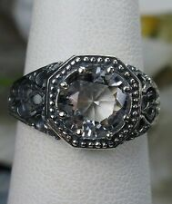 2ct *White Topaz* Solid Sterling Silver Wedding Victorian Filigree Ring Size 7