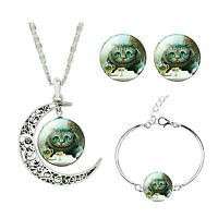 Vintage Stil grün Katze Schmuckset Ohrstecker Mond Halskette Armband S895