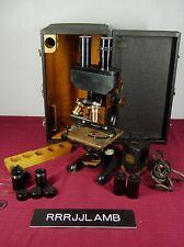 Vtg Antique 1915 Brass Black Bausch Amp Lomb Microscope Binocular Eyepieces Case