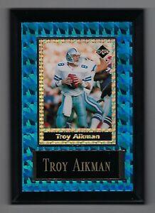 """Vintage 1994-1995 6.5"""" x 4.5"""" Card Plaque Troy Aikman Cowboys Investor Focus #3"""