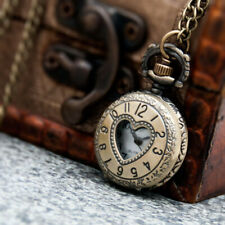 Pocket Watch Charming Necklace N Delicate Antique Heart Hollow Out