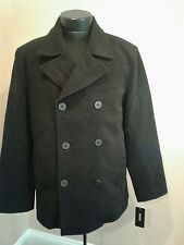 GUESS Double Breasted Black Peacoat Large L Wool Blend BRAND NEW